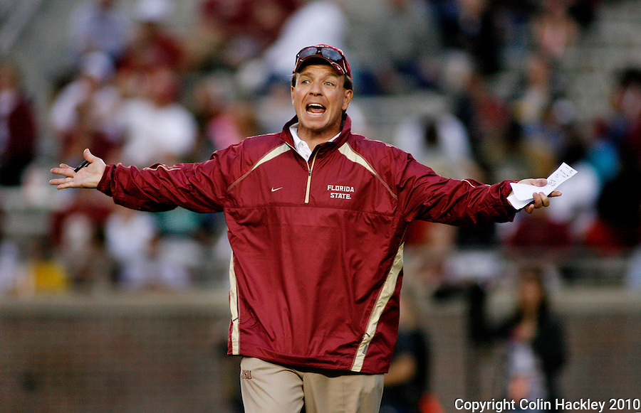 TALLAHASSEE, FL 4/10/10-FSU-SPRING FB10 CH-Head Coach Jimbo Fisher reacts to play during second half Spring Game action Saturday at Doak Campbell Stadium in Tallahassee. .COLIN HACKLEY PHOTO
