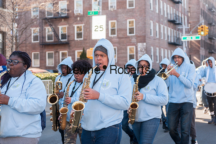 """Marching band in the Sunnyside, Queens St. Patrick's Parade on March 5, 2017. Billed as """"St. Pat's For All"""" the festive event started as an alternative to the New York parade, and organizers have endeavored to make the parade inclusive allowing gays and lesbians to march who were banned from the New York parade. (© Richard B. Levine)"""