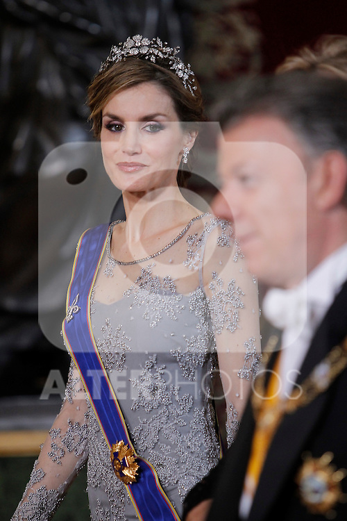 Spanish Royals host a dinner for the Colombian President Juan Manuel Santos and his wife Maria Clemencia Rodriguez in Madrid, Spain. In the pic: Queen Letizia of Spain. March 02, 2015. (Jose Luis Cuesta/POOL/ALTERPHOTOS)