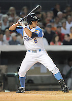 July 11, 2008: Infielder Brandon Hicks (8) of the Myrtle Beach Pelicans, Class A affiliate of the Atlanta Braves, in a game against the Salem Avalanche at BB&T Coastal Field in Myrtle Beach, S.C. Photo by:  Tom Priddy/Four Seam Image