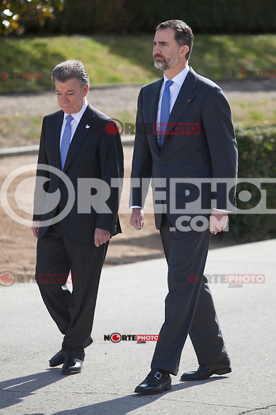 Spanish Royals King Felipe VI of Spain during the Colombia´s President Juan Manuel Santos welcome ceremony at the Pardo Palace in Madrid, Spain. March 01, 2015. (ALTERPHOTOS/Victor Blanco) /NORTEphoto.com