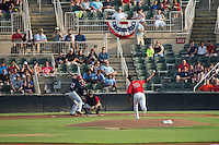 Kannapolis Intimidators starting pitcher Luis Martinez (29) delivers a pitch to Ian Sagdal (13) of the Hagerstown Suns at Kannapolis Intimidators Stadium on July 4, 2016 in Kannapolis, North Carolina.  The Intimidators defeated the Suns 8-2.  (Brian Westerholt/Four Seam Images)