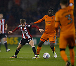 David Brooks of Sheffield Utd tackles Alfred N'Diaye of Wolverhampton Wanderers during the Championship match at the Bramall Lane Stadium, Sheffield. Picture date 27th September 2017. Picture credit should read: Simon Bellis/Sportimage