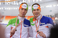 SPEEDSKATING: SOCHI: Adler Arena, 22-03-2013, Essent ISU World Championship Single Distances, Day 2, 5000m Men, Jorrit Bergsma (NED), Sven Kramer (NED),© Martin de Jong