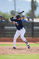 Milwaukee Brewers outfielder Anderson Melendez (94) at bat during an Instructional League game against the Los Angeles Dodgers at Maryvale Baseball Park on September 24, 2018 in Phoenix, Arizona. (Zachary Lucy/Four Seam Images)