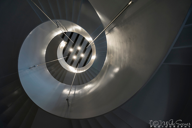 Looking up the staircase at Barangaroo International Tower 2, Sydney, NSW, Australia