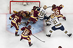 ST PAUL, MN - APRIL 7: Hunter Shepard #32 of the Minnesota-Duluth Bulldogs and his teammates protect the goal against Bo Brauer #29 of the Notre Dame Fighting Irish during the Division I Men's Ice Hockey Semifinals held at the Xcel Energy Center on April 7, 2018 in St Paul, Minnesota. (Photo by (Photo by Carlos Gonzalez/NCAA Photos via Getty Images)
