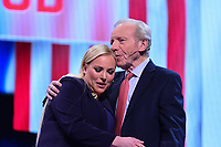 Washington, DC - March 24, 2019: Meghan McCain and former U.S. Senator Joe Lieberman pay tribute to Meghan's father, the late Sen. John McCain, during the AIPAC Policy Conference at the Washington Convention Center, March 24, 2019.  (Photo by Don Baxter/Media Images International)