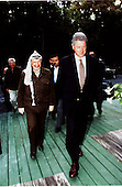 United States President Bill Clinton meets with Palestinian Authority Chairman Yasser Arafat at the Washington Summit at Wye River on Monday, October 19, 1998..Mandatory Credit: White House via CNP