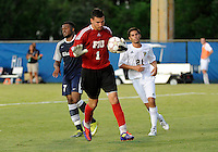 Florida International University men's soccer player Eric Reyes (1)  plays against Nova University on August 26, 2011 at Miami, Florida. FIU won the game 2-0. .