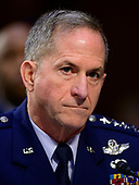 """United States Air Force General David L. Goldfein, Chief of Staff of the Air Force testifies before the US Senate Committee on Armed Services during a hearing on """"Chain of Command's Accountability to Provide Safe Military Housing and Other Building Infrastructure to Service members and Their Families"""" on Capitol Hill in Washington, DC on Thursday, March 7, 2019.<br /> Credit: Ron Sachs / CNP"""