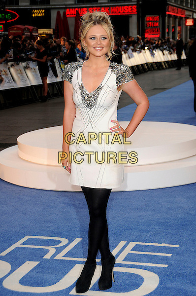 "EMILY ATACK.""The Life And Death Of Charlie St. Cloud"" UK film premiere, Empire Cinema, Leicester Square, London, England, UK..16th September 2010.full length black white black tights silver beaded hand on hip dress ankle boots shoulders epaulettes .CAP/CAS.©Bob Cass/Capital Pictures."