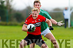 Danny Wren Tarbert closely marked by Paul O Carroll Ballyduff during the North Kerry Championship QF played in Moyvane on Sunday.