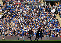 19th May 2018, Wembley Stadium, London, England; FA Cup Final football, Chelsea versus Manchester United; Chelsea fans covering their  eyes from the sun