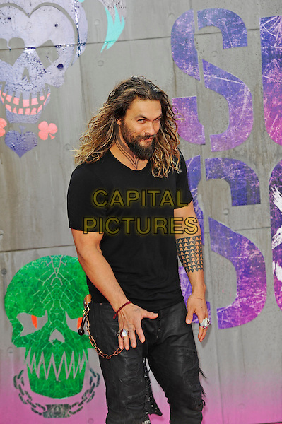 LONDON, ENGLAND - AUGUST 3: Jason Momoa attending the 'Suicide Squad' European Premiere at Odeon Cinema, Leicester Square on August 3, 2016 in London, England.<br /> CAP/MAR<br /> &copy;MAR/Capital Pictures