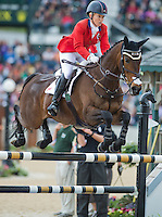 GIN & JUICE, ridden by Hawley Bennett-Awad (CAN), competes during Stadium Jumping at the Rolex 3-Day Event at the Kentucky Horse Park in Lexington, Kentucky on April 28, 2013.