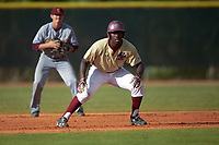 Boston College Eagles pinch runner Dominic Hardaway (43) during a game against the Central Michigan Chippewas on March 8, 2016 at North Charlotte Regional Park in Port Charlotte, Florida.  Boston College defeated Central Michigan 9-3.  (Mike Janes/Four Seam Images)