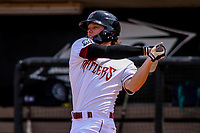 Wisconsin Timber Rattlers outfielder Zach Clark (7) swings at a pitch during a Midwest League game against the Clinton LumberKings on April 26, 2018 at Fox Cities Stadium in Appleton, Wisconsin. Clinton defeated Wisconsin 7-3. (Brad Krause/Four Seam Images)