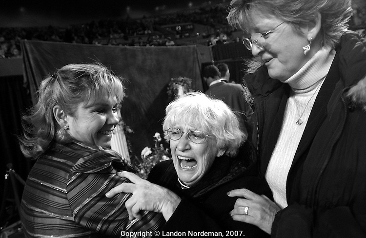 "NEW YORK - FEB 10:  Katie Shepard's (not pictured) Grandmother reacts to her granddaughter's win with wirehaired daschund, ""Champion H'Rtlndhls Tickle Me Elmo"". Katie won the ""Best junior Showmanship"" award at the 128th Annual Westminster Kennel Club Dog Show at Madison Square Garden in New York City on Tuesday February 10, 2004. (Photo By Landon Nordeman)"