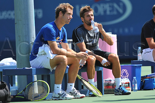 05.09.2013. New York, USA.   Richard Gasquet FRA and Arnaud Clement while practising for the  U.S. Open