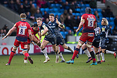 24th March 2018, AJ Bell Stadium, Salford, England; Aviva Premiership rugby, Sale Sharks versus Worcester Warriors; Mike Haley of Sale Sharks is tackled by GJ van Velze of Worcester Warriors