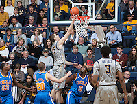 David Kravish of California shoots the ball during the game against UCLA at Haas Pavilion in Berkeley, California on February 19th, 2014.  UCLA defeated California, 86-66.