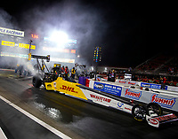 Apr 20, 2018; Baytown, TX, USA; NHRA top fuel driver Richie Crampton during qualifying for the Springnationals at Royal Purple Raceway. Mandatory Credit: Mark J. Rebilas-USA TODAY Sports