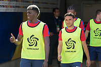 Nashville, TN - Saturday July 08, 2017: Gyasi Zardes and Cristian Roldan         during a 2017 Gold Cup match between the men's national teams of the United States (USA) and Panama (PAN) at Nissan Stadium.