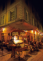 Nice. Restaurant in the old town, evening. France.