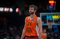VALENCIA, SPAIN - OCTOBER 20: John Shurna during EUROCUP match between Valencia Basket Club and CAI Zaragozaat Fonteta Stadium on   October 22, 2015 in Valencia, Spain
