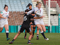 Danielle Waterman in action, England Women v New Zealand Women in an Old Mutual Wealth Series, Autumn International match at Twickenham Stoop, Twickenham, England, on 19th November 2016. Full Time score 20-25
