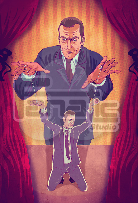 Illustrative concept of boss controlling executive as puppet