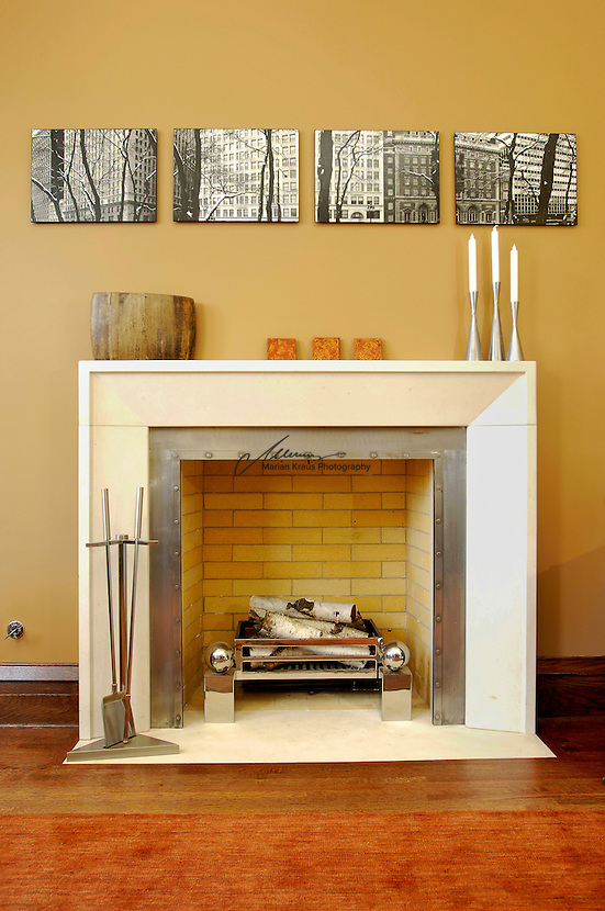 A cozy fireplace at a residence in Chiacgo, IL.