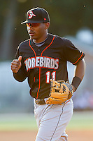 Mychal Givens #11 of the Delmarva Shorebirds jogs off the field at the end of an inning against the Kannapolis Intimidators at Fieldcrest Cannon Stadium on May 20, 2011 in Kannapolis, North Carolina.   Photo by Brian Westerholt / Four Seam Images