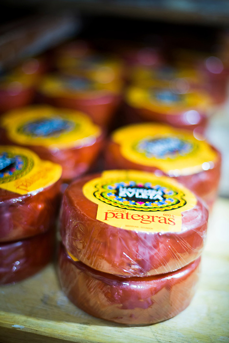 Cheese ready for shipping at the cheese factory at Hacienda Zuleta, Imbabura, Ecuador, South America