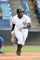 Tampa Yankees outfielder Yeicok Calderon (48) at bat during a game against the Dunedin Blue Jays on June 28, 2014 at George M. Steinbrenner Field in Tampa, Florida.  Tampa defeated Dunedin 5-2.  (Mike Janes/Four Seam Images)