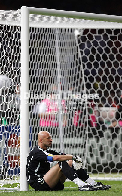 BERLIN - JULY 9:  Dejected goalkeeper Fabien Barthez of France sits against the goal post after Italy defeated France to win the 2006 FIFA World Cup July 9, 2006 in Berlin, Germany.  (Photograph by Jonathan P. Larsen)