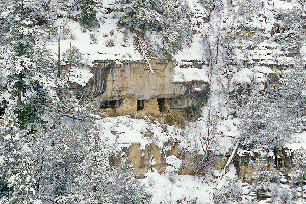Snowy winter view of cliff dwelling ruin on far side of canyon, view from Island Trail at Walnut Canyon National Monument, Flagstaff, Arizona, TomBean_Pix_1942