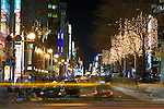 Sapporo, Japan<br /> Night view of traffic in downtown Sapporo from the Japan Railway Sapporo Station