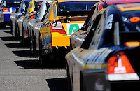 Apr 17, 2009; Avondale, AZ, USA; NASCAR Sprint Cup Series drivers wait in line to head out on track during practice for the Subway Fresh Fit 500 at Phoenix International Raceway. Mandatory Credit: Mark J. Rebilas-