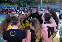 Wellington Black celebrate winning the 2018 Netball NZ National Under-17 Championship final between Auckland 1 and Wellington A Black at Vautier Park in Palmerston North, New Zealand on Thursday, 19 July 2018. Photo: Dave Lintott / lintottphoto.co.nz
