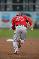 OAKLAND, CA - JUNE 15:  Mike Trout #27 of the Los Angeles Angels of Anaheim runs to second base against the Oakland Athletics during the game at the Oakland Coliseum on Friday, June 15, 2018 in Oakland, California. (Photo by Brad Mangin)