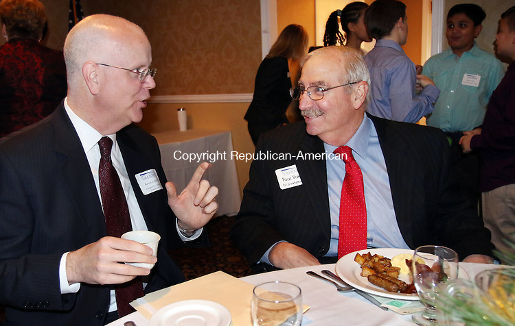 TORRINGTON CT. 04 December 2015-120415SV02-From left, Kevin Lembo, State Comptroller, talks with Paul Patch, Chariman of the Board of the Chamber, during the Northwest Connecticut Chamber of Commerce annual corporate sponsor appreciation breakfast held at P. Sam's in Torrington Friday. Lembo was the speaker at the event.<br /> Steven Valenti Republican-American