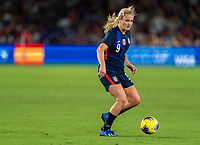 ORLANDO, FL - MARCH 05: Lindsey Horan #9 of the United States dribbles during a game between England and USWNT at Exploria Stadium on March 05, 2020 in Orlando, Florida.