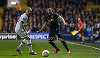 Stephan El Shaarawy of Monaco plays the ball past Kieran Trippier of Tottenham Hotspur during the UEFA Europa League group match between Tottenham Hotspur and Monaco at White Hart Lane, London, England on 10 December 2015. Photo by Andy Rowland.