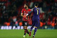 Charlie Austin of Southampton and Hugo Lloris of Tottenham Hotspur after Tottenham Hotspur vs Southampton, Premier League Football at Wembley Stadium on 5th December 2018