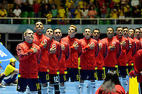 CALI -COLOMBIA-16-09-2016: Jugadores de Colombia durante los actos protocolarios previo al encuentro del grupo A entre Colombia y Panama de la Copa Mundial de Futsal de la FIFA Colombia 2016 jugado en el Coliseo del Pueblo en Cali, Colombia. /  Players of Colombia during formal events prior the match of the group A between Colombia and Panama of the FIFA Futsal World Cup Colombia 2016 played at Metropolitan Coliseo del Pueblo in Cali, Colombia. Photo: VizzorImage/ NR / Cont