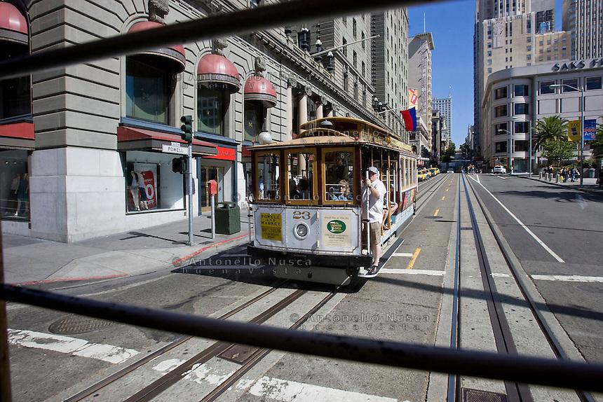 San Francisco, California, Usa, June 26, 2007. Cable car in San Francisco
