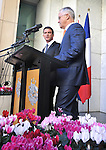 French Prime Minister Manuel Valls (L) speaks during a press conference with Australian Prime Minister Malcolm Turnbull (R) at Parliament House, Canberra on May 2, 2016. AFP PHOTO / MARK GRAHAM