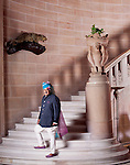 Maharaja Gaj Singh II at the footsteps of the marble and sandstone staircase in the Umaid Bhawan Palace. The carved eagles on the<br />